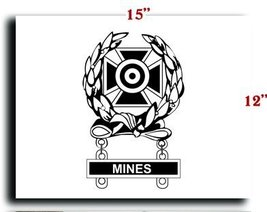 US Army Badge Marksman Badge Expert w Mines Qualification Bar CANVAS art prin... - $20.78