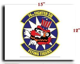 Air Force USAF 74th Fighter Squadron SSI CANVAS art print framed stretch... - $20.78