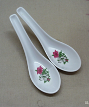 Two Vintage Christmas Poinsettia Plastic Relish/Condiment Spoons/Ladles - $3.00