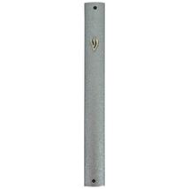 Judaica Mezuzah Case Silver Gray Aluminum Semi Round 10 cm