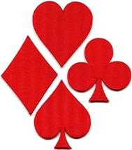 Lot of 4 playing cards red suit diamonds spades poker applique iron-on patches - $5.93