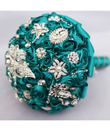 Wedding bridal brooch bouquet , teal blue roses jewelry crystal Bride's ... - $133.00