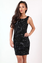 New Womens Ladies Scoop Back Sequin Party Dress UK Size 8-14 - $198,66 MXN