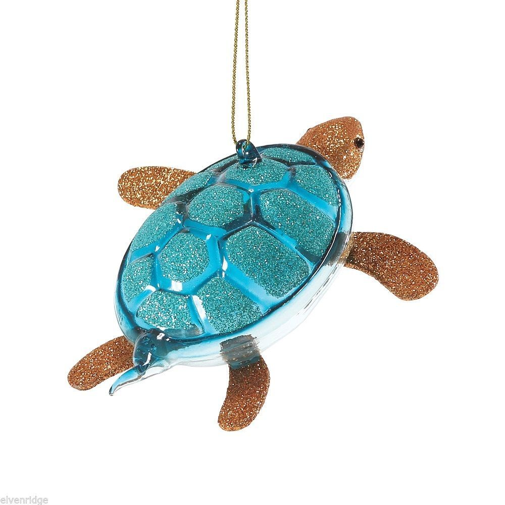 Department 56 Glittered Glass Turtle  Ornament