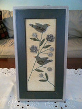 Framed 3D Green Hued Birds and Flowers with Stitching detail wall art