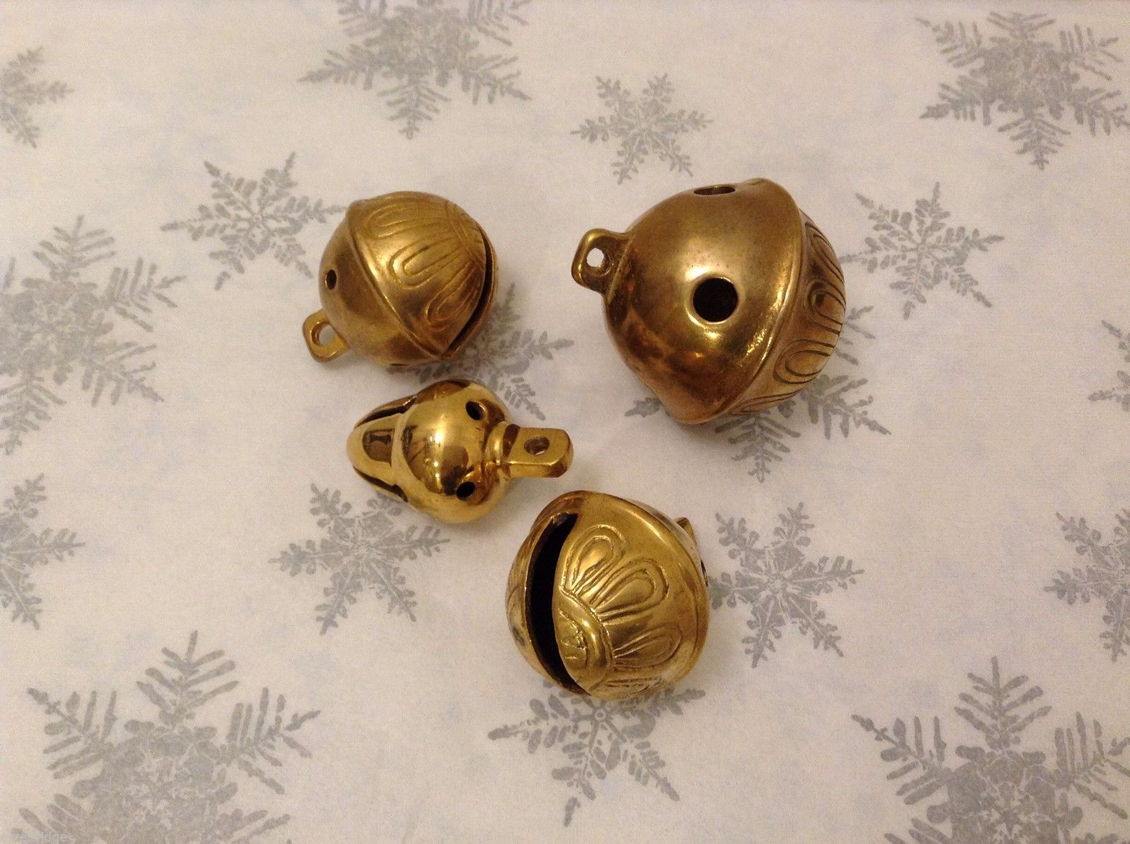 Polar Gold Brass Lot of 4 Santa Sleigh bells GREAT for Xmas Morning surprise