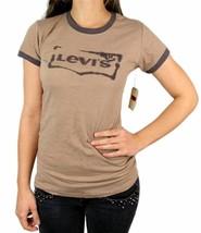 Levi's Women's Premium Classic Graphic Cotton T-Shirt Shirt Tee Brown image 1