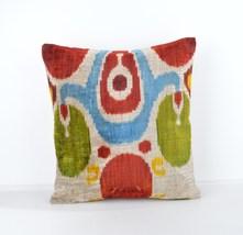 Silk Velvet Ikat Pillow Decorative Throw Pillow Set Shabby Chic Floral P... - $39.90