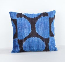 Silk Velvet Ikat Pillow Decorative Throw Pillow... - $39.90