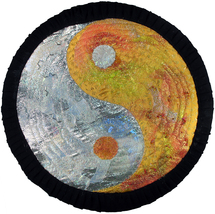 Fire and Ice: Yin-Yang Quilted Art Wall Hanging - $320.00