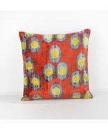 Velvet Ikat Pillow Decorative ıkat pillows  red blue yellow ikat pillow  - $75.00