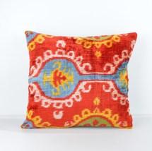 Velvet Ikat cushion Decorative ıkat cusihon  red blue white pillow ikat... - $39.90