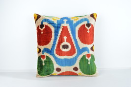 16x16 Ikat pillows Decorative ıkat pillow  pillow ikat silk pillow 16x16... - £64.90 GBP