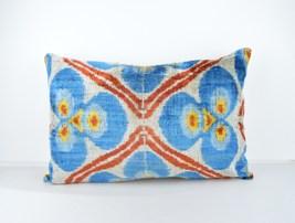 Blue Ikat Pillow Cover 16x24 lumbar Silk Velvet Ikat Pillow velvet cushi... - $49.90