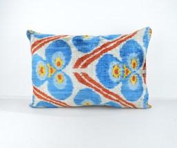 lumbar Ikat Pillow Cover 16x24 lumbar Silk Velvet Ikat Pillow ikat cushion  - $49.90