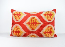 Ikat Velvet Pillow Cover 16x24 lumbar Silk Velv... - $49.90