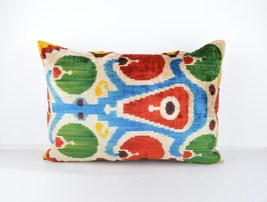ethnic pillows 16x24 lumbar Silk Velvet Pillow,... - $49.90