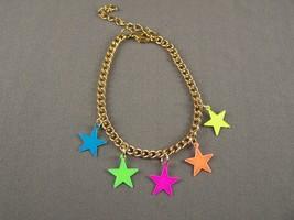 Gold tone star bright neon colors charm bracele... - $7.06