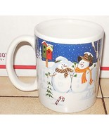 Christmas Coffee Mup Cup Snowman and Snowwoman Ceramic - $9.50