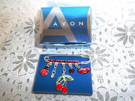AVON SAFETY PIN 5 CHARMS BROOCH  NEW IN BOX - $10.00