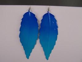 "Blue ombre Big Huge leaf leaves textured 4.5"" long dangle earrings light... - $7.19"