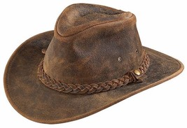 NEW USA MADE Henschel Hats OUTBACK Rustic CRUSHABLE Leather Western Cowb... - $91.95