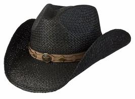 NEW Conner Country Western Black Raffia Straw Cowboy Hat Shapeable NWT F... - €41,62 EUR