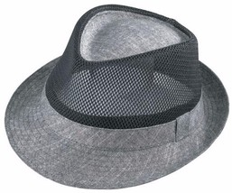 NEW Henschel Hats Mesh Crown Light Weight FEDORA Trilby Hat Charcoal NWT - $45.95