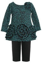 Teal Triple Rosette Border Ponte Knit Dress/Legging Set TL1MH, Bonnie Jean Ba...