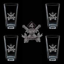 Marines Usmc 1st Battalion 14th Marines Ssi 4 Glass Set - $34.64