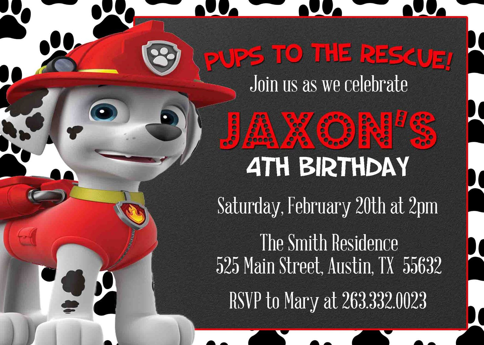 Marshall Paw Patrol Birthday Party Invitation Personalized Chalkboard