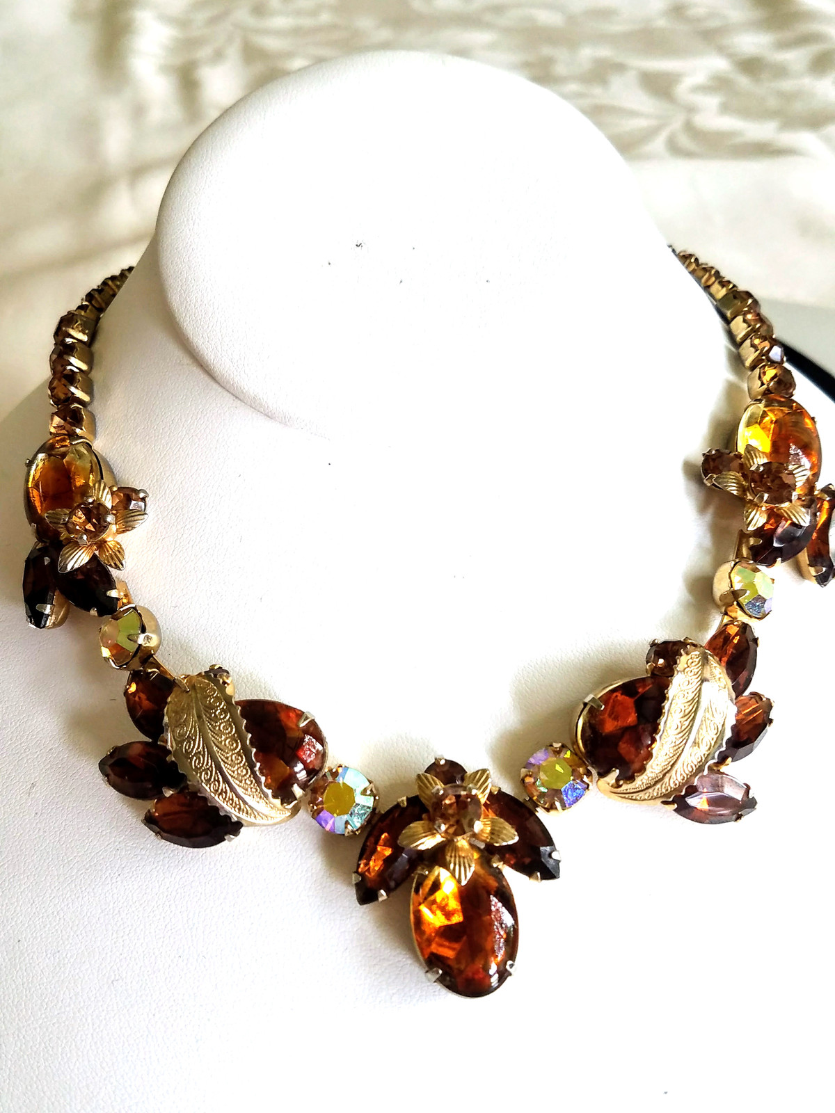 Primary image for Vintage Rhinestone Necklace, Topaz and Ab Rhinestones, Unsigned Weiss