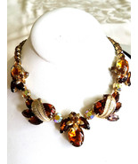 Vintage Rhinestone Necklace, Topaz and Ab Rhinestones, Unsigned Weiss - $95.00
