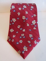 Jeoffrey Beene 100% Silk Neck Tie Classic Floral Red White Blue - $6.99