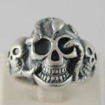 Silver Ring 925 Burnished Shaped Skull with Snake Size Adjustable image 1