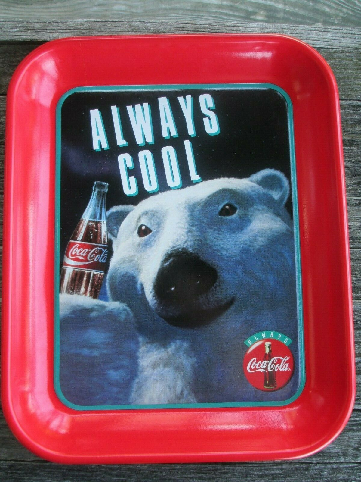Primary image for Coca-Cola Commemorative Polar Bear Tray Always Cool 1993 Red Always Coca-Cola