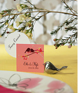 Lovebirds Place Card Holders Brushed Silver Fin... - $19.95