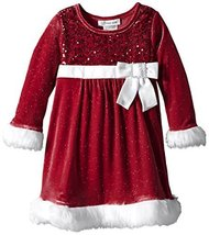 Bonnie Jean Little Girls' Sequin Bodice Santa Dress, Red, 5 [Apparel]