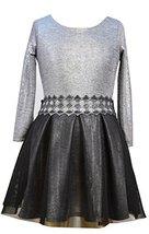 Long Sleeve Foil Knit to Texture Mesh Drop waist Dress (10, Silver) [Apparel]