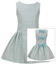 Bonnie Jean Little Girls Aqua Jacquard Back Bow Dress (6X, Aqua) [Apparel]