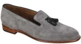 Handmade Men's Gray Suede Black Tassel Slip Ons Loafer Shoes image 1