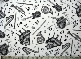 1/2 yard music/instruments black/white Play Your Song quilt fabric-free shipping