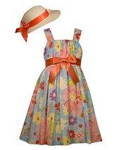 Bonnie Jean Little Girls Floral Clipdot Dress with Trimmed Hat, Aqua, 6X