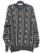 Vtg Towncraft Gray Black Striped 1980's Hipster Mens Large Crew Neck Swe... - $18.67