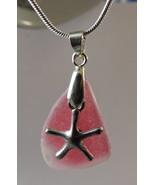 RARE Red Multi Sea Glass Silver Starfish Necklace - $38.00