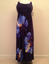NEW Alfani Women's Sleeveless Stretch Gown 220310 Blue Painted Pansies S... - $22.00