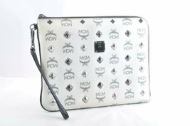 MCM PVC Leather Clutch Bag White Auth 10758 - $360.00