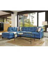 DAKOTA - Blue Fabric Living Room Sofa Queen Sleeper Couch Chaise Section... - $1,524.89