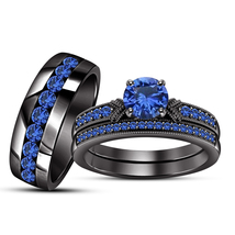 Round Cut Blue Sapphire Black Rhodium Finish 925 Silver Trio Engagement ... - $187.99