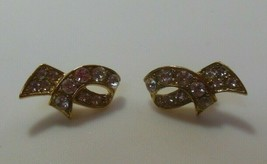 Signed Crown Trifari Gold Tone Clear Rhinestone Ribbon Pierced Earrings - $14.84